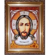 Спас Нерукотворний - Ікона ручної роботи з бурштину (ар-117)