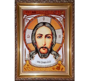 Спас Нерукотворный - Икона ручной работы из янтаря (ар-117)