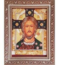 Спас Златые Власы - икона из янтаря (ар-362)