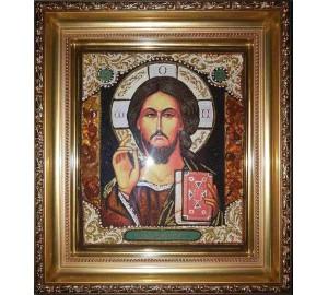 Спаситель - Икона ручной работы из янтаря (арп-4)