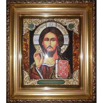Спаситель - Ікона ручної роботи з бурштину (арп-4)