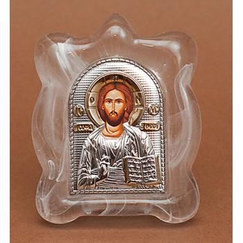 Спаситель - Икона в муранском стекле с серебром и позолотой (EK1MAG Христос)