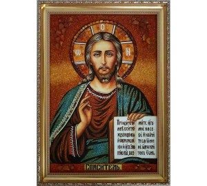Спаситель - янтарная икона ручной работы (ар-62)
