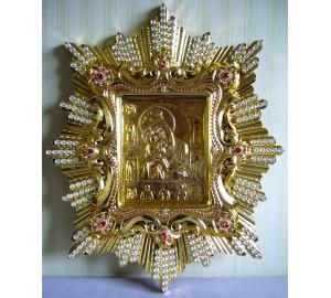 Спускная икона Почаевской Божьей Матери, с камнями - копия чудотворной иконы (AL-04)