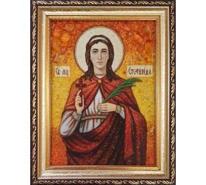 Стефанида Дамасская - икона из янтаря (ар-341)