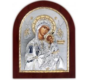 Страстная Икона Божьей Матери (Икона Неустанной помощи) - Икона с серебром и позолотой 20*25 см (EK008)
