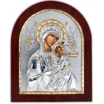 Страстная Икона Божьей Матери - Икона арочной формы с серебром и позолотой (GOLD)