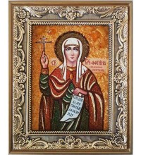 Светлана (Фотина, Фотиния) - именная икона из янтаря (ар-176)