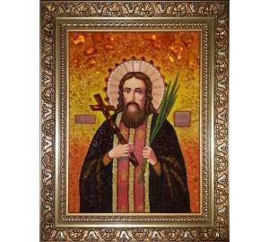 Священномученик Лукиан Печерский - Именная икона из янтаря (ари-30)