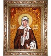 Святая Анна Готфская - икона из янтаря (ар-336)