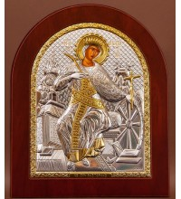 Свята Катерина - Ікона з Греції з сріблом і позолотою 15*19 см (EK4-127)