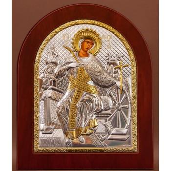 Святая Екатерина - Икона из Греции с серебром и позолотой 15*19 см (EK4-127)
