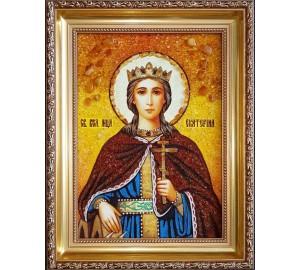 Святая Екатерина - Красивая янтарная Икона ручной работы (ар-22)