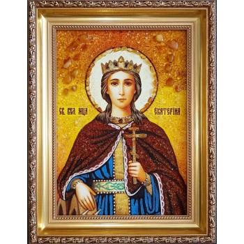 Свята Катерина - Красива янтарна ікона ручної роботи (ар-22)