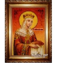 Святая Елена - Янтарная икона из натуральных камней (ар-17)