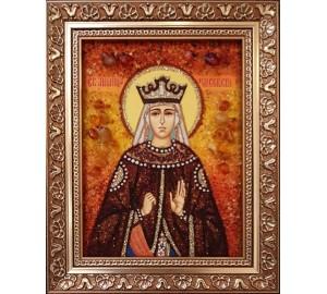 Святая Милица Сербская - именная икона из янтаря (ар-253)