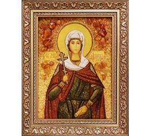 Свята мучениця Анісія Солунская - ікона з янтаря (ар-296/1)
