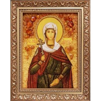 Святая мученица Анисия Солунская - икона из янтаря (ар-296/1)