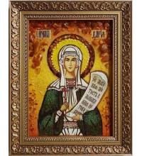 Свята мучениця Дар'я (Дарина), Римська - ікона з янтаря (ар-95)