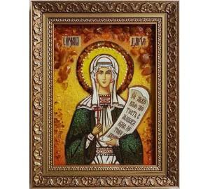 Святая мученица Дарья (Дария) Римская - икона из янтаря (ар-95)