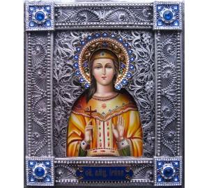Святая мученица Ирина - писаная икона в окладе с серебром (Гр-103)