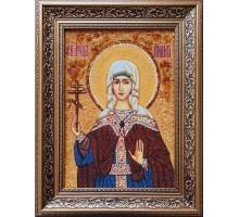Святая мученица Лидия Иллирийская - икона из янтаря, ручной работы (ар-348)