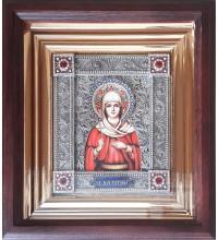 Святая мученица Татиана (Татьяна) - именная икона с серебром, в дубовом киоте (юл-34)