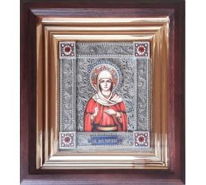 Свята мучениця Татіана (Тетяна) - іменна ікона з сріблом, в дубовому кіоті (юо-34)
