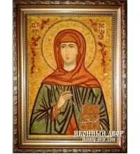 Свята мучениця Зінаїда - Якісна іменна ікона з бурштина (ар-43)