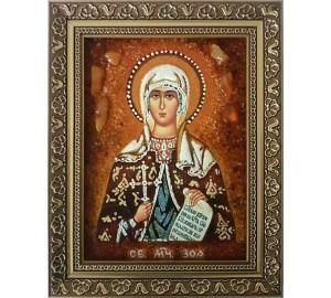 Святая мученица Зоя - икона из янтаря (ар-332)