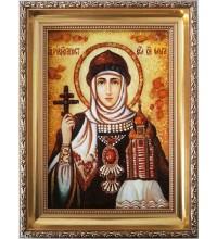 Святая Ольга - Икона из янтаря - Равноапостольная княгиня Ольга (ар-25)
