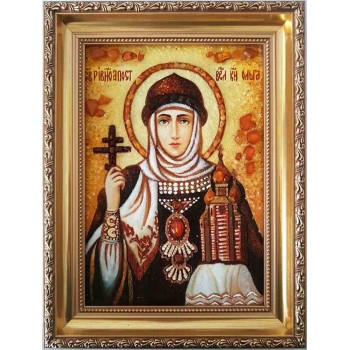 Свята Ольга - Ікона з янтарем - Рівноапостольна княгиня Ольга (ар-25)