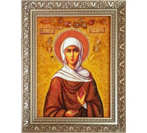 Святая праведная Елисавета (Елизавета) - икона из янтаря (ар-235)