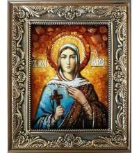 Святая праведная Марфа - икона с янтарем, ручная работа (ар-77)