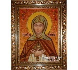 Святая Преподобная Аполлинария - Именная икона из янтаря (ар-149)