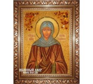 Святая преподобная Кира Берийская - шикарная икона из янтаря (ар-212)
