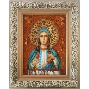 Святая равноапостольная Мария Магдалина - икона с янтарем  (ар-326/1)