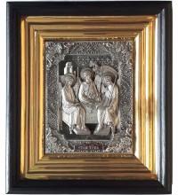 Святая Троица - икона с серебром в дубовом киоте (юл-05)