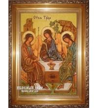 Свята Трійця - Красива янтарна ікона ручної роботи (ар-160)