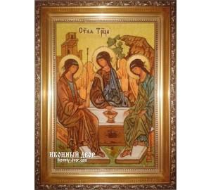 Святая Троица - Красивая янтарная икона ручной работы (ар-160)