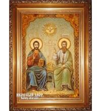 Свята Трійця (Новозавітна) - Чудова ікона з бурштину ручної роботи (ар-193)