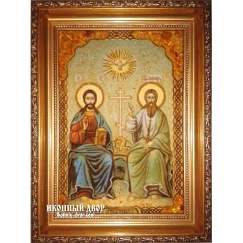 Святая Троица (Новозаветная) - Чудесная икона из янтаря ручной работы (ар-193)