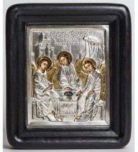 Святая Троица - писаная икона с серебром (хм-16)