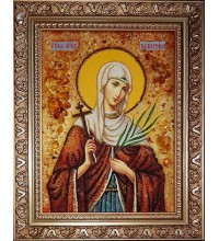 Святая Валентина Кесарийская - янтарная икона ручной работы (ар-373)