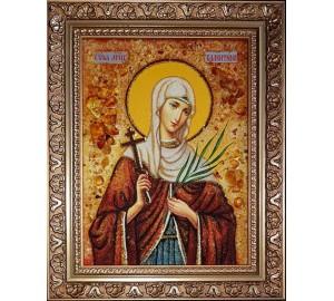 Свята Валентина Кесарийская - янтарна ікона ручної роботи (ар-373)