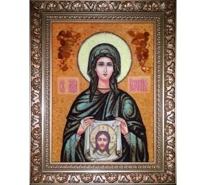 Святая Вероника - икона из янтаря (ар-294)