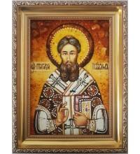 Святитель Григорий Палама - икона из янтаря (ар-87)