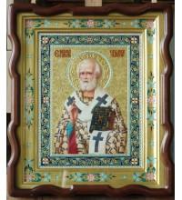 Святитель Николай Чудотворец - превосходная писаная икона в киоте (ир-27)