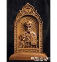 Святитель Николай - Резная икона из дерева  (210 х 115 Груша) (ДВ-4)