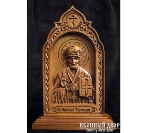 Святитель Миколай - Різьблена ікона з дерева (210 х 115 Груша) (ДВ-4)